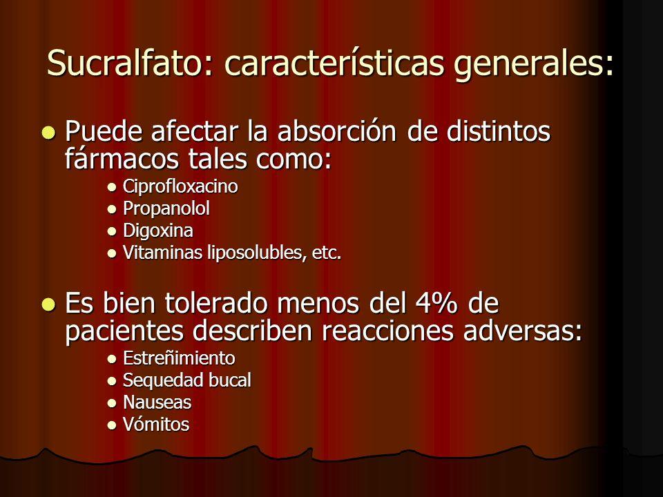 Sucralfato: características generales: