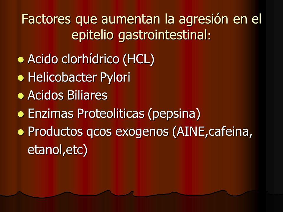 Factores que aumentan la agresión en el epitelio gastrointestinal: