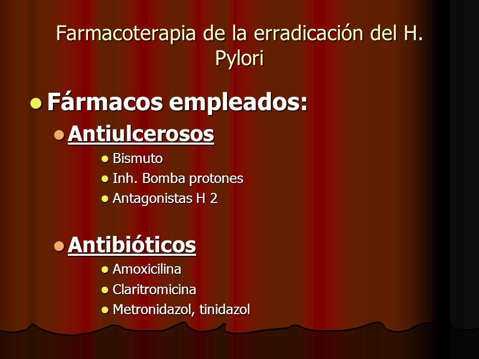 Farmacoterapia de la erradicación del H. Pylori