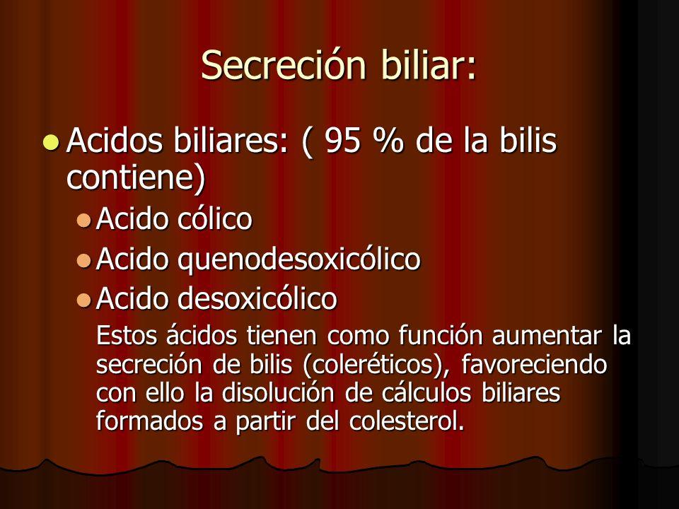 Secreción biliar: Acidos biliares: ( 95 % de la bilis contiene)