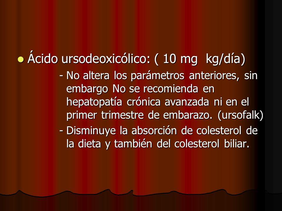 Ácido ursodeoxicólico: ( 10 mg kg/día)