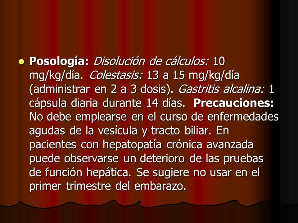 Posología: Disolución de cálculos: 10 mg/kg/día
