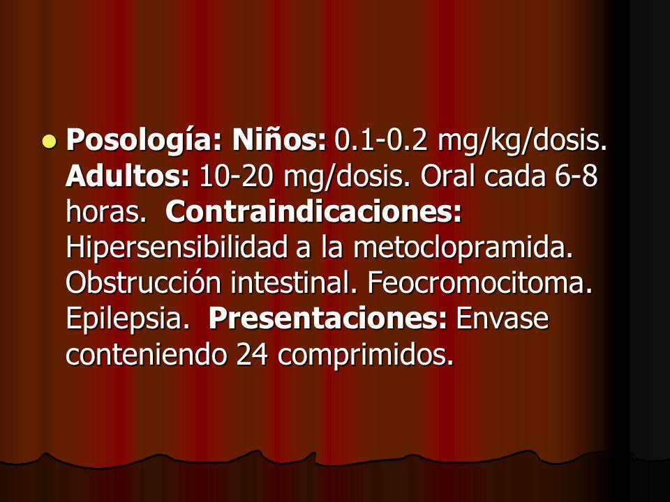 Posología: Niños: 0. 1-0. 2 mg/kg/dosis. Adultos: 10-20 mg/dosis