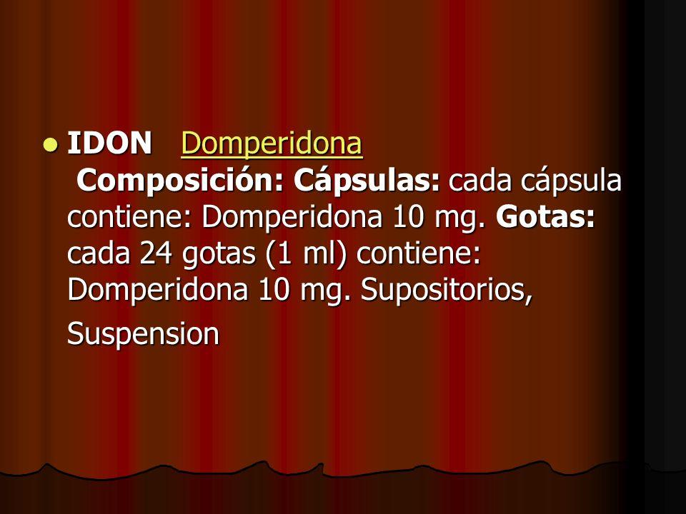 IDON Domperidona Composición: Cápsulas: cada cápsula contiene: Domperidona 10 mg. Gotas: cada 24 gotas (1 ml) contiene: Domperidona 10 mg. Supositorios,