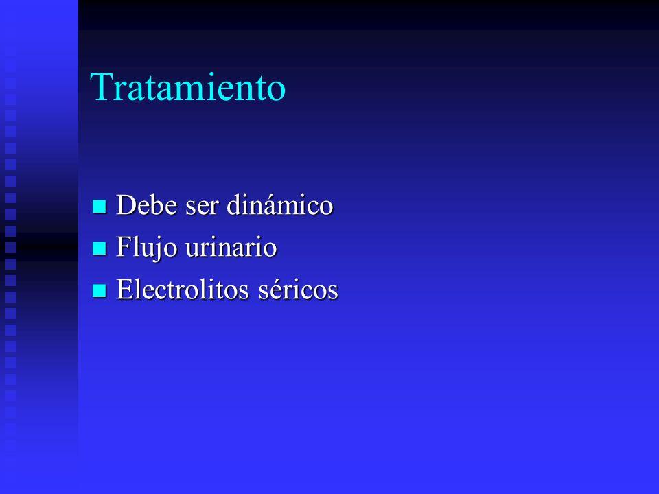 Tratamiento Debe ser dinámico Flujo urinario Electrolitos séricos