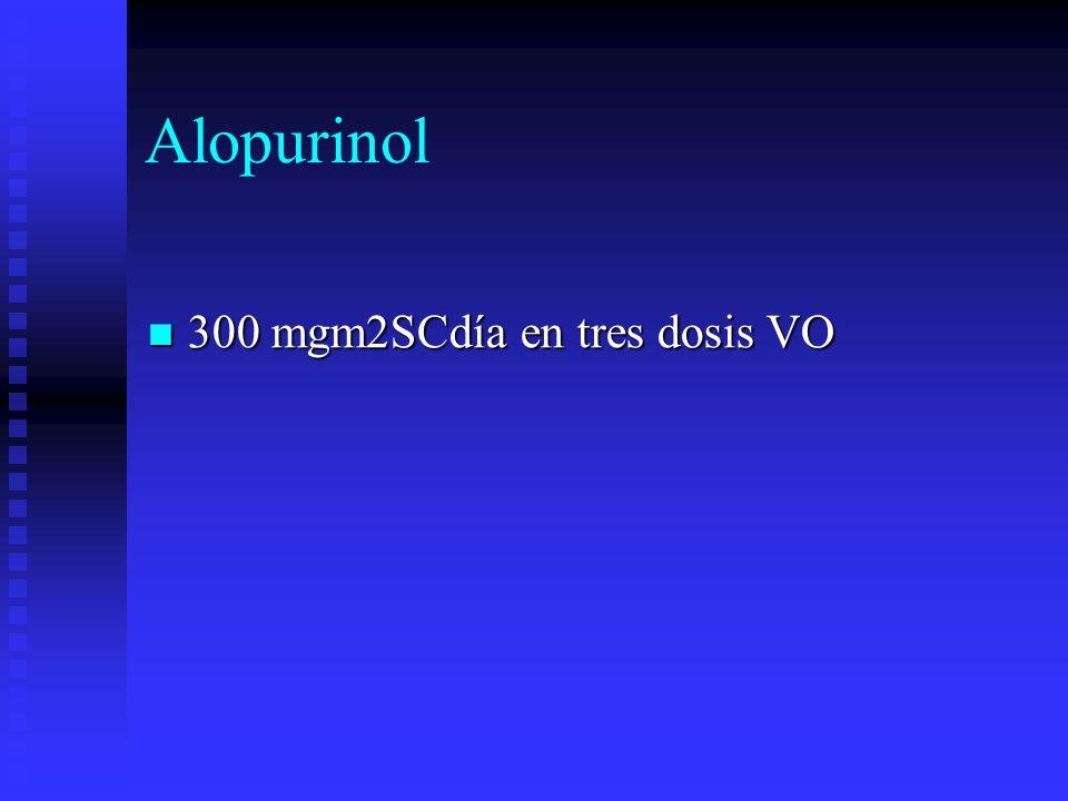 Alopurinol 300 mgm2SCdía en tres dosis VO