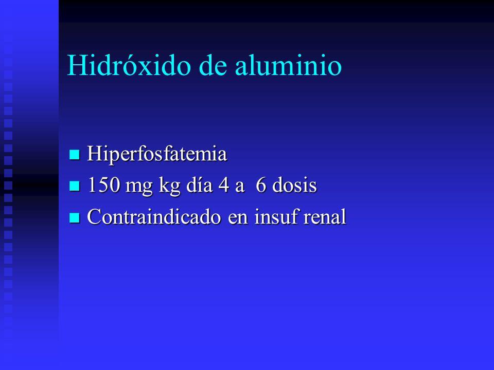 Hidróxido de aluminio Hiperfosfatemia 150 mg kg día 4 a 6 dosis