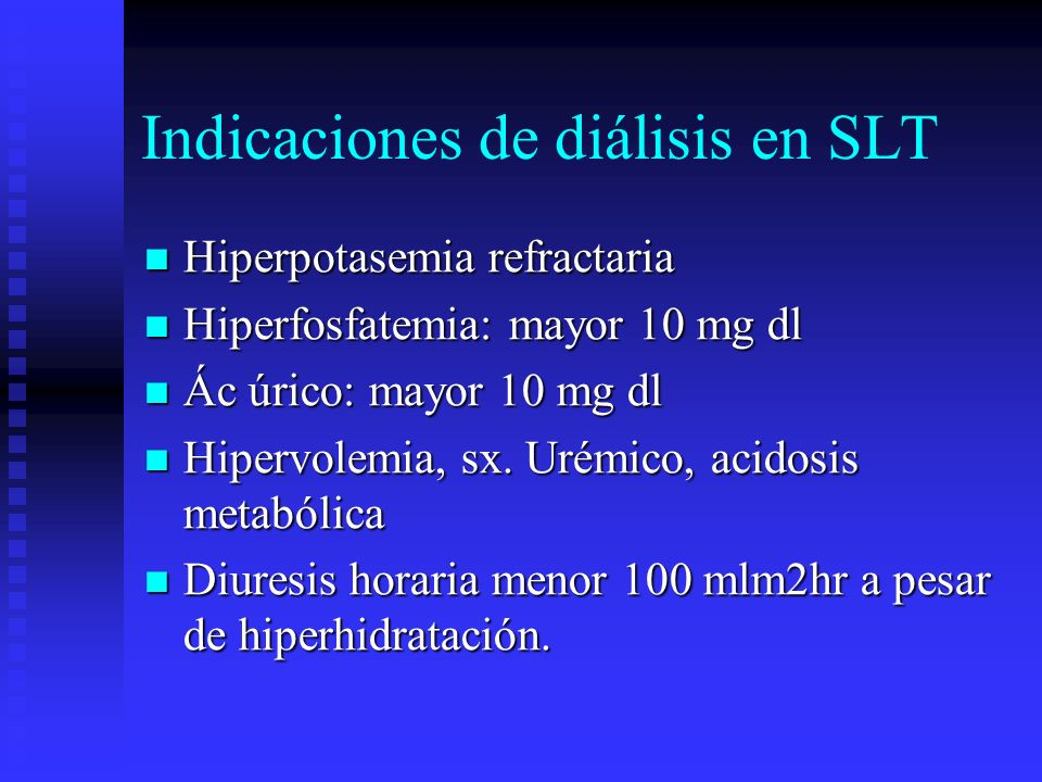Indicaciones de diálisis en SLT