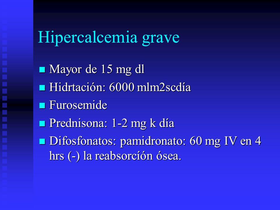 Hipercalcemia grave Mayor de 15 mg dl Hidrtación: 6000 mlm2scdía