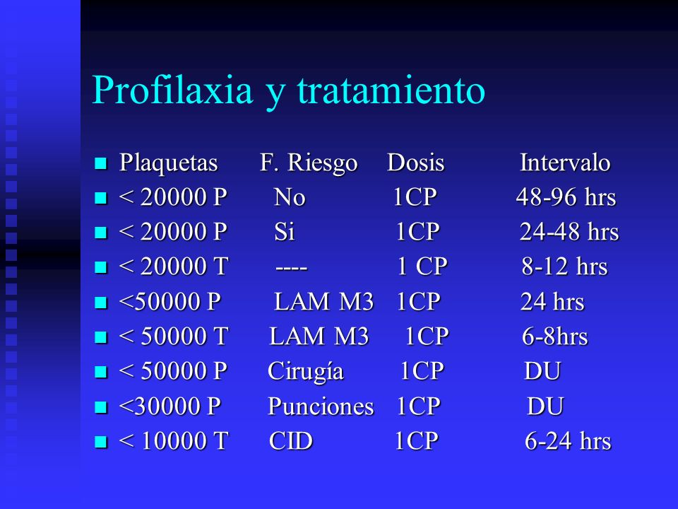 Profilaxia y tratamiento