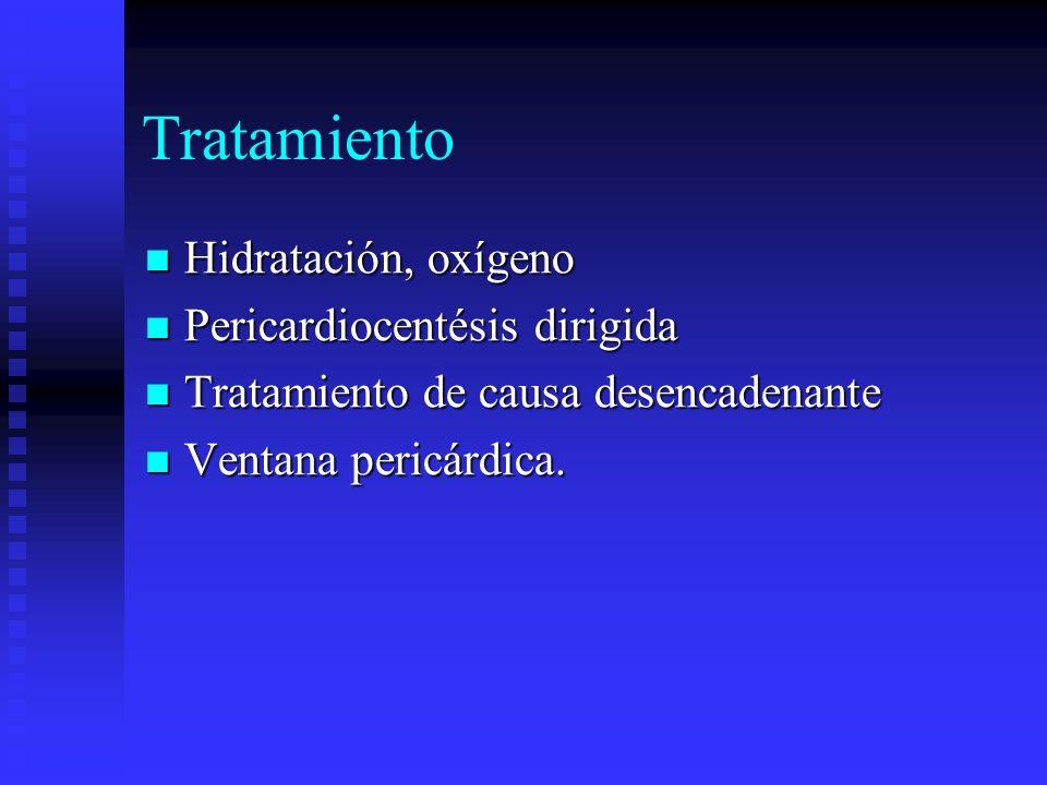 Tratamiento Hidratación, oxígeno Pericardiocentésis dirigida