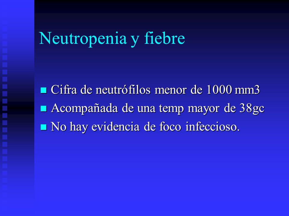 Neutropenia y fiebre Cifra de neutrófilos menor de 1000 mm3