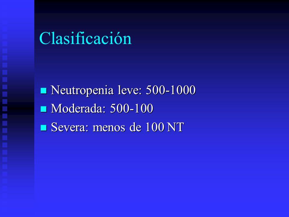 Clasificación Neutropenia leve: 500-1000 Moderada: 500-100