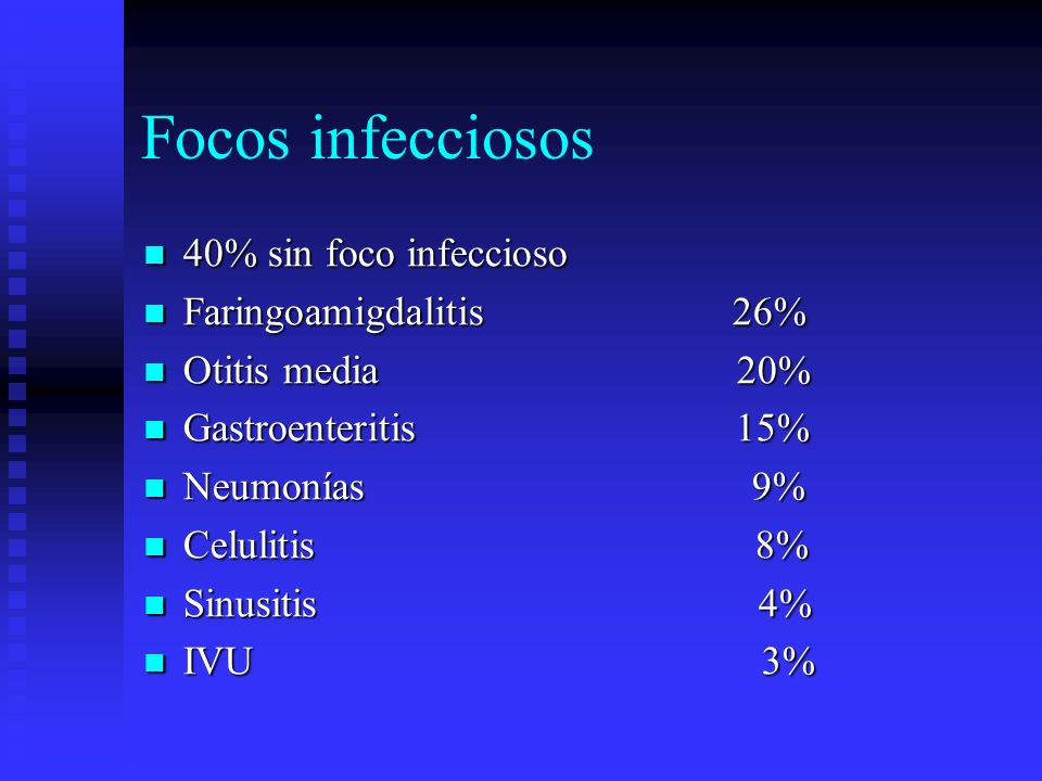 Focos infecciosos 40% sin foco infeccioso Faringoamigdalitis 26%