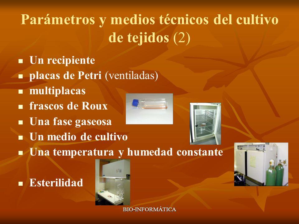 Parámetros y medios técnicos del cultivo de tejidos (2)