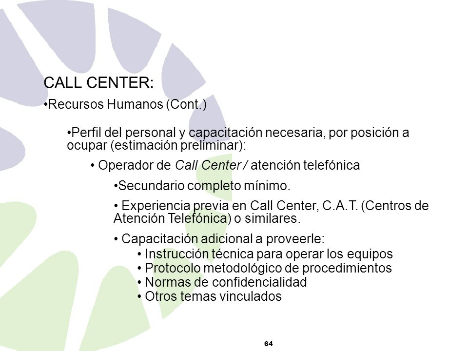 CALL CENTER: Recursos Humanos (Cont.)