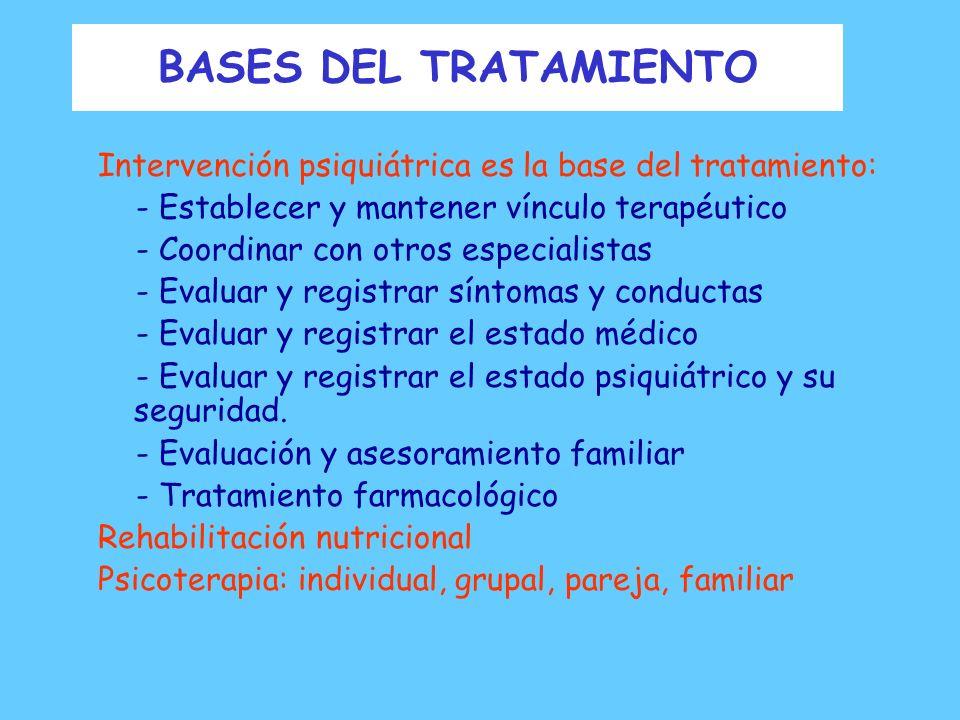 BASES DEL TRATAMIENTO Intervención psiquiátrica es la base del tratamiento: - Establecer y mantener vínculo terapéutico.
