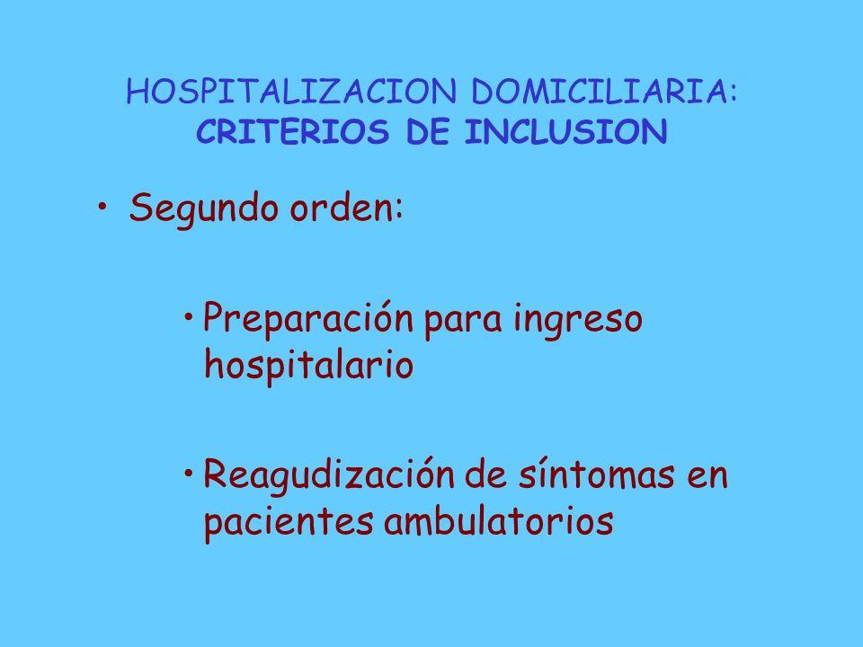 HOSPITALIZACION DOMICILIARIA: CRITERIOS DE INCLUSION