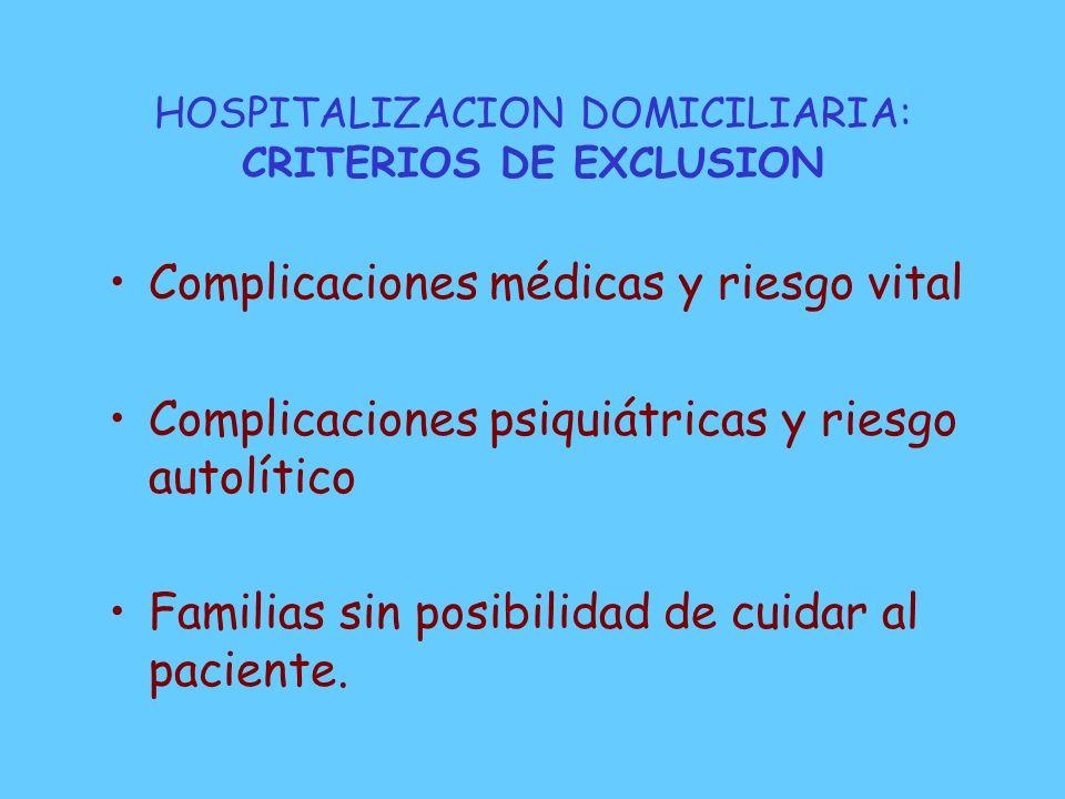 HOSPITALIZACION DOMICILIARIA: CRITERIOS DE EXCLUSION