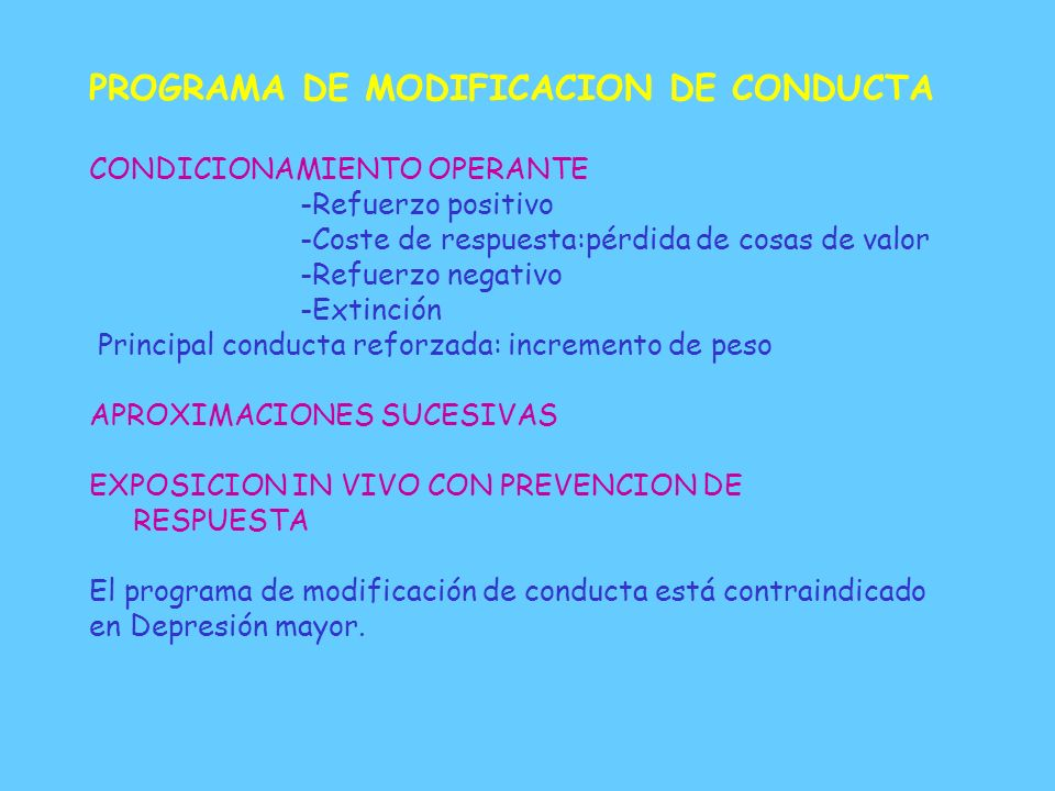 PROGRAMA DE MODIFICACION DE CONDUCTA