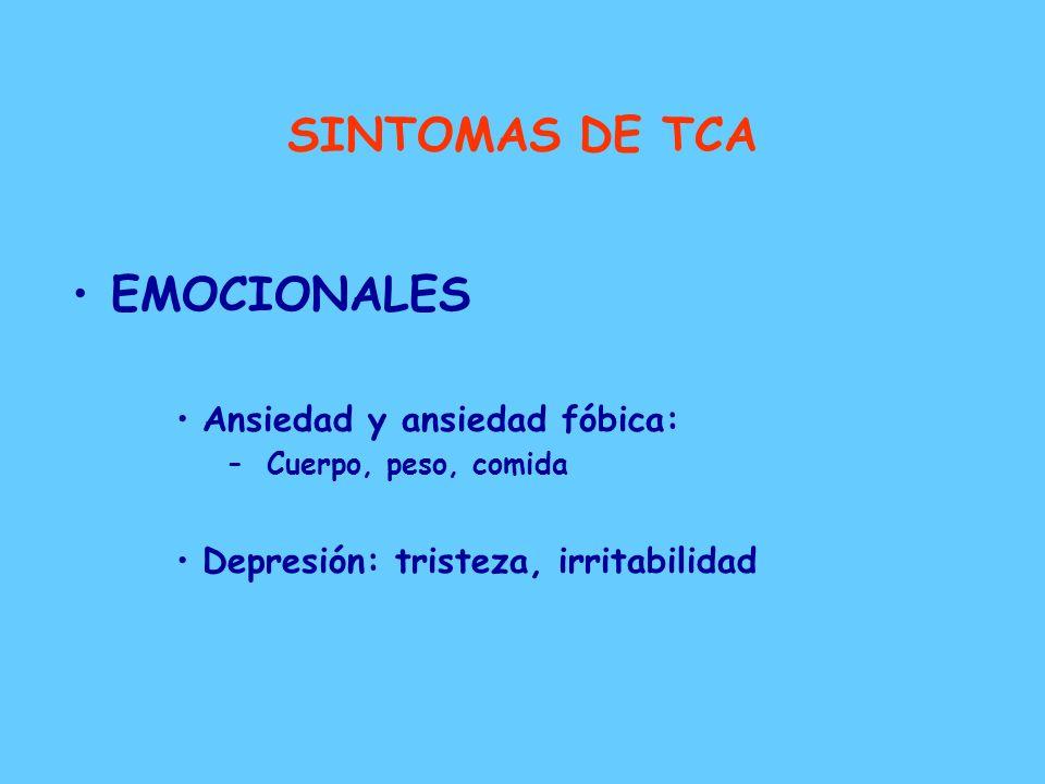SINTOMAS DE TCA EMOCIONALES Ansiedad y ansiedad fóbica:
