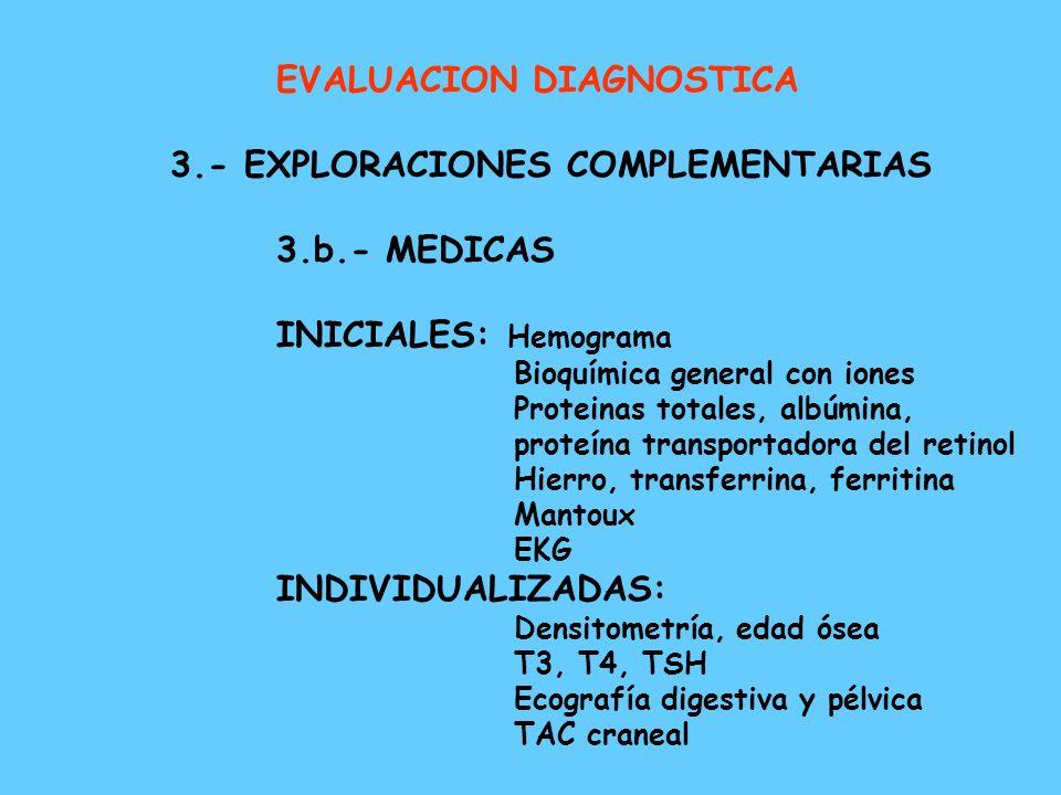 EVALUACION DIAGNOSTICA 3.- EXPLORACIONES COMPLEMENTARIAS 3.b.- MEDICAS