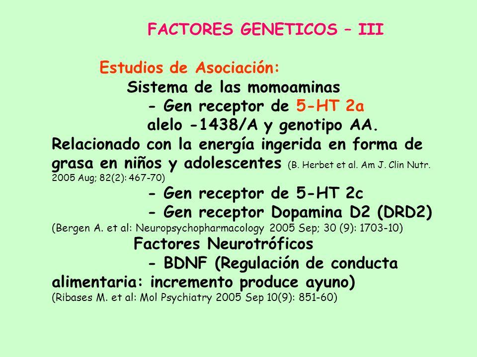 FACTORES GENETICOS – III Estudios de Asociación: