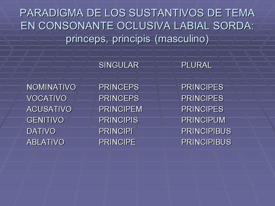 PARADIGMA DE LOS SUSTANTIVOS DE TEMA EN CONSONANTE OCLUSIVA LABIAL SORDA: princeps, principis (masculino)