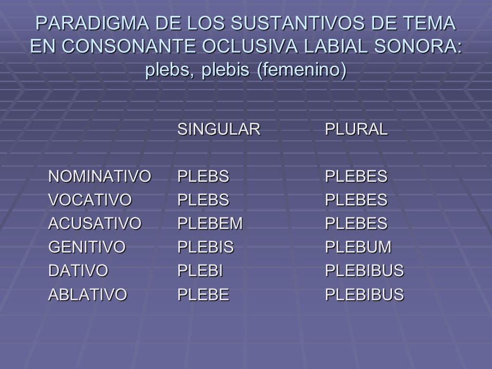 PARADIGMA DE LOS SUSTANTIVOS DE TEMA EN CONSONANTE OCLUSIVA LABIAL SONORA: plebs, plebis (femenino)
