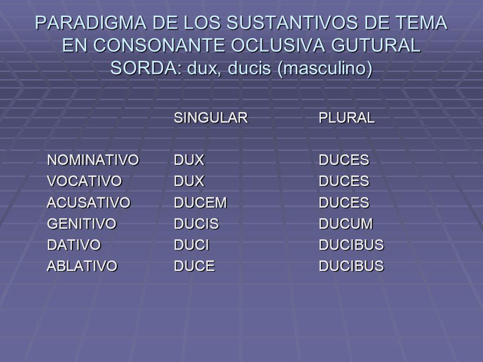 PARADIGMA DE LOS SUSTANTIVOS DE TEMA EN CONSONANTE OCLUSIVA GUTURAL SORDA: dux, ducis (masculino)