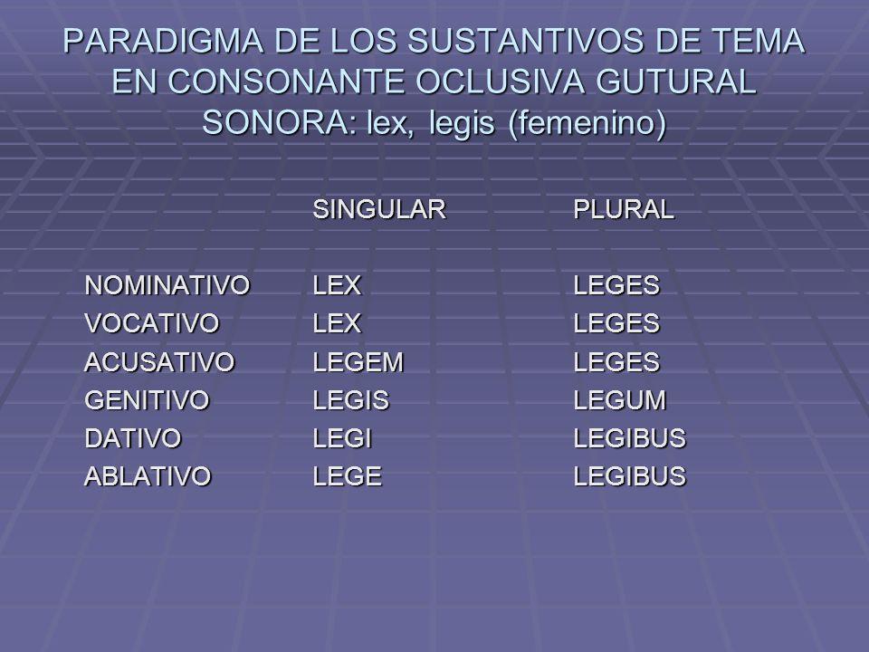 PARADIGMA DE LOS SUSTANTIVOS DE TEMA EN CONSONANTE OCLUSIVA GUTURAL SONORA: lex, legis (femenino)