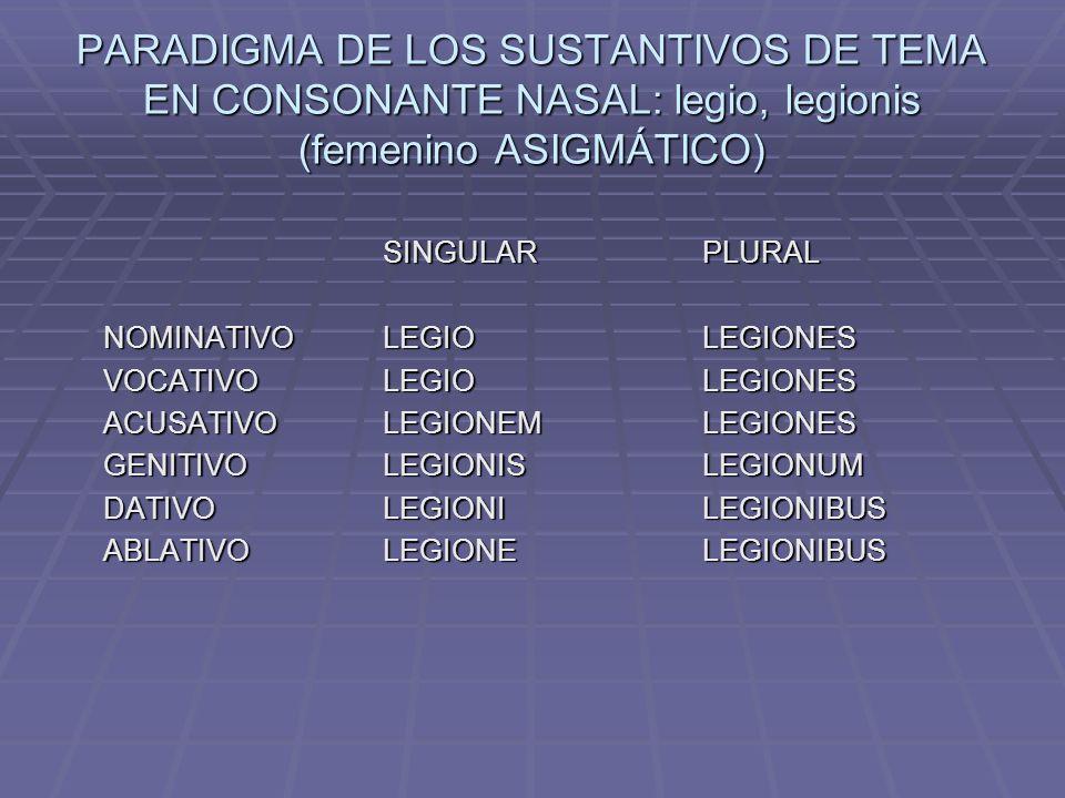 PARADIGMA DE LOS SUSTANTIVOS DE TEMA EN CONSONANTE NASAL: legio, legionis (femenino ASIGMÁTICO)