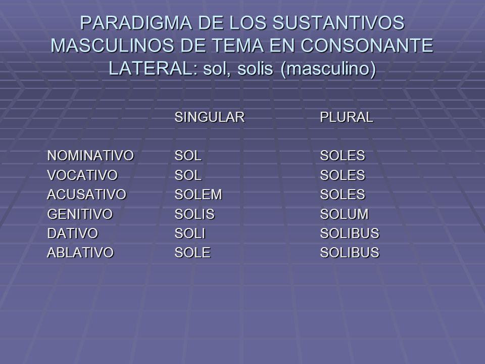 PARADIGMA DE LOS SUSTANTIVOS MASCULINOS DE TEMA EN CONSONANTE LATERAL: sol, solis (masculino)