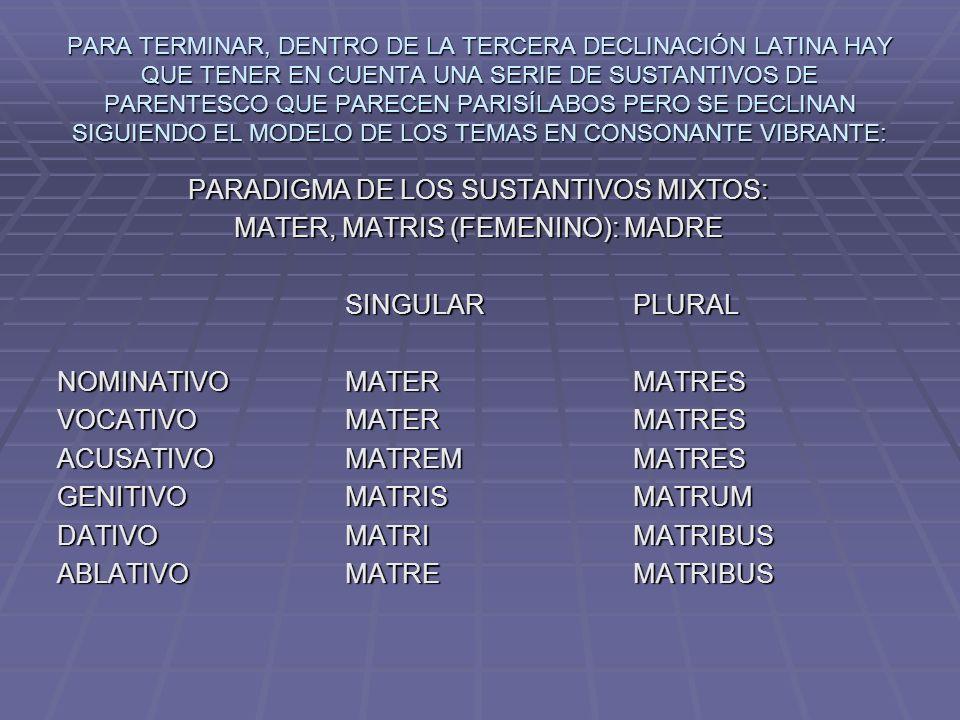 PARADIGMA DE LOS SUSTANTIVOS MIXTOS: MATER, MATRIS (FEMENINO): MADRE
