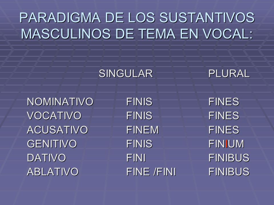 PARADIGMA DE LOS SUSTANTIVOS MASCULINOS DE TEMA EN VOCAL: