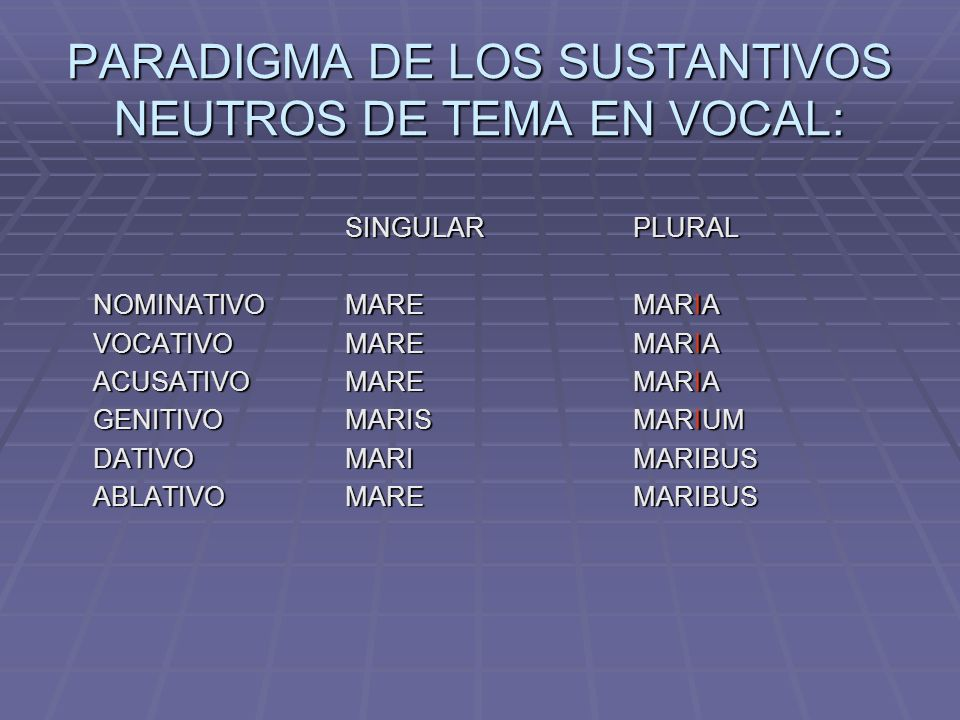 PARADIGMA DE LOS SUSTANTIVOS NEUTROS DE TEMA EN VOCAL: