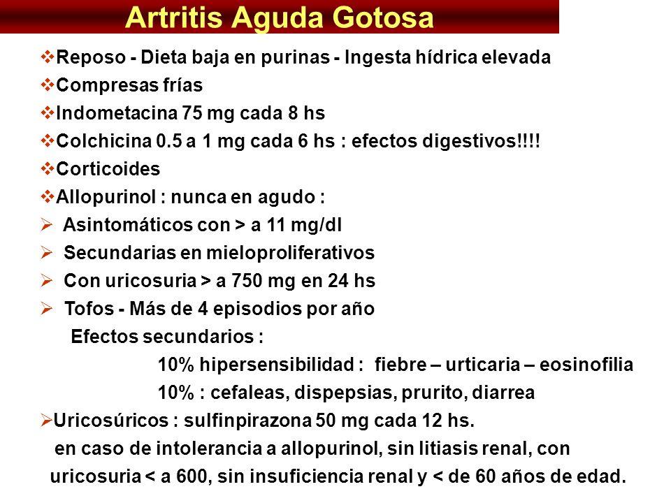 Artritis Aguda Gotosa Reposo - Dieta baja en purinas - Ingesta hídrica elevada. Compresas frías. Indometacina 75 mg cada 8 hs.