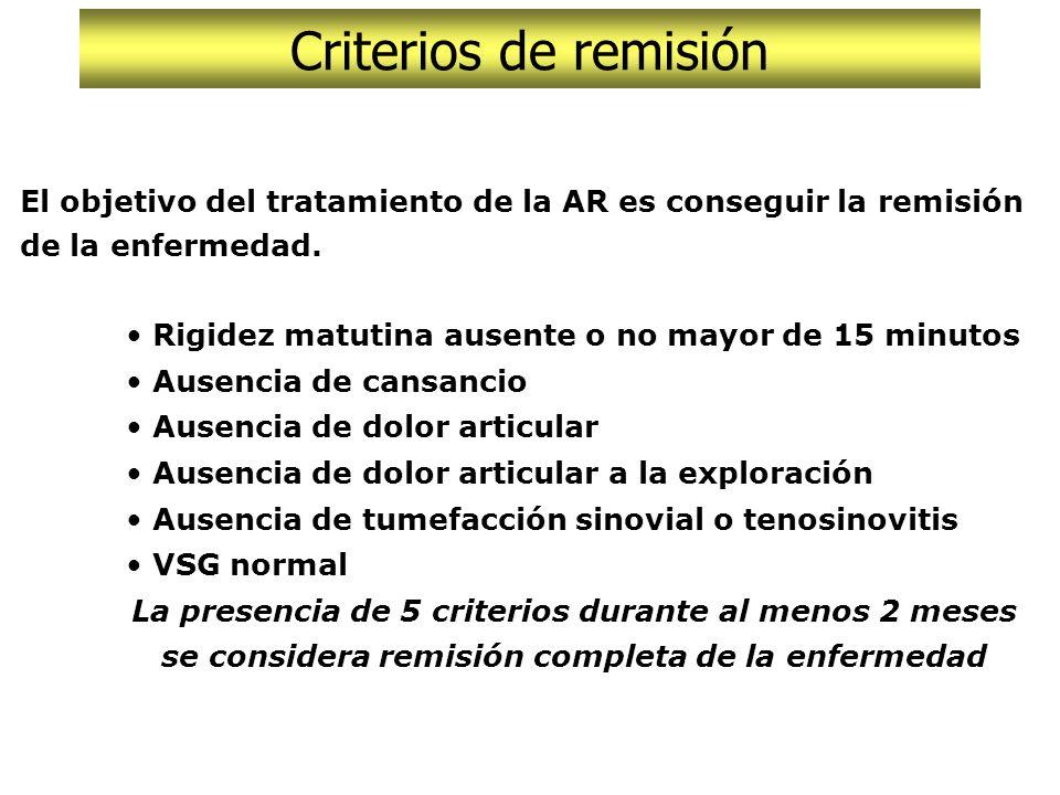 Criterios de remisión Criterios de respuesta al tratamiento