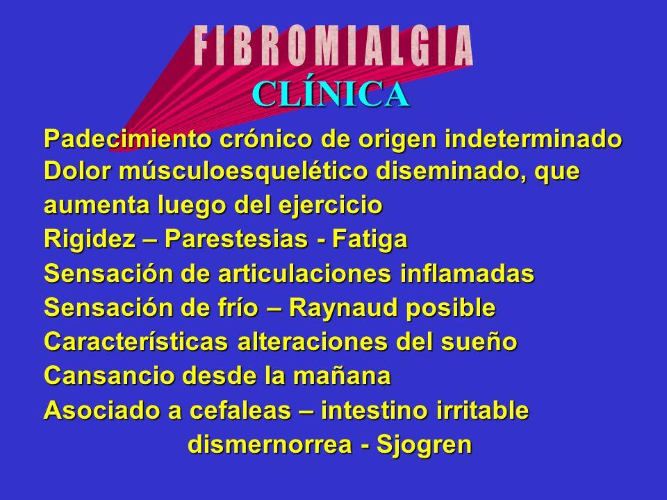 CLÍNICA FIBROMIALGIA Padecimiento crónico de origen indeterminado