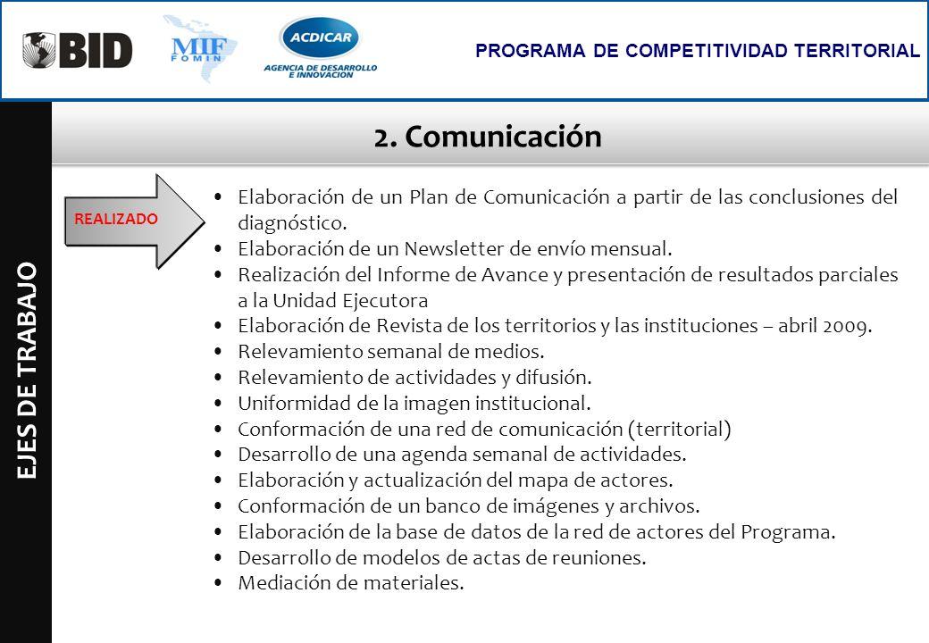 2. Comunicación EJES DE TRABAJO