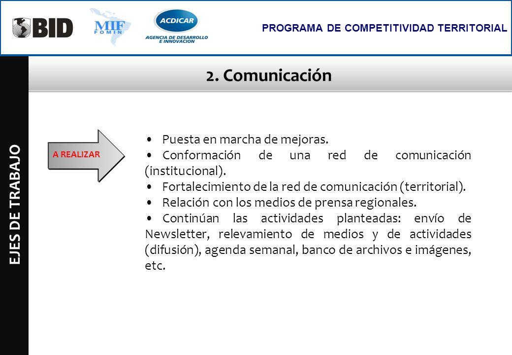 2. Comunicación EJES DE TRABAJO Puesta en marcha de mejoras.
