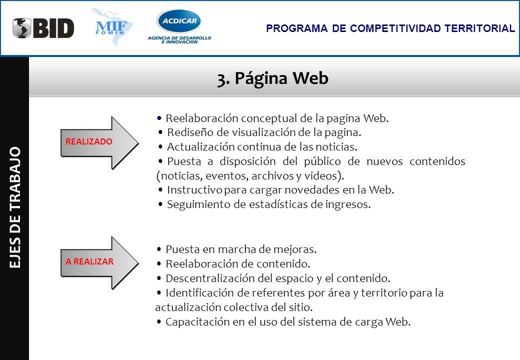 3. Página Web EJES DE TRABAJO