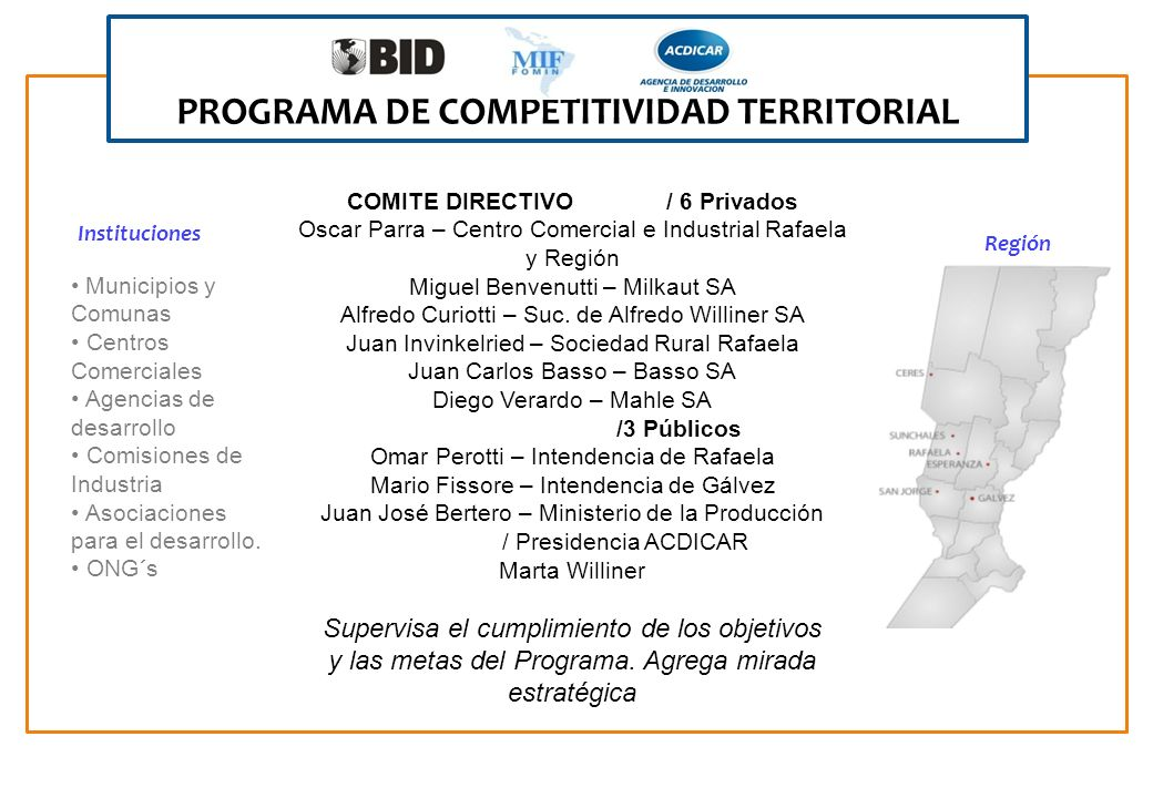 PROGRAMA DE COMPETITIVIDAD TERRITORIAL COMITE DIRECTIVO / 6 Privados