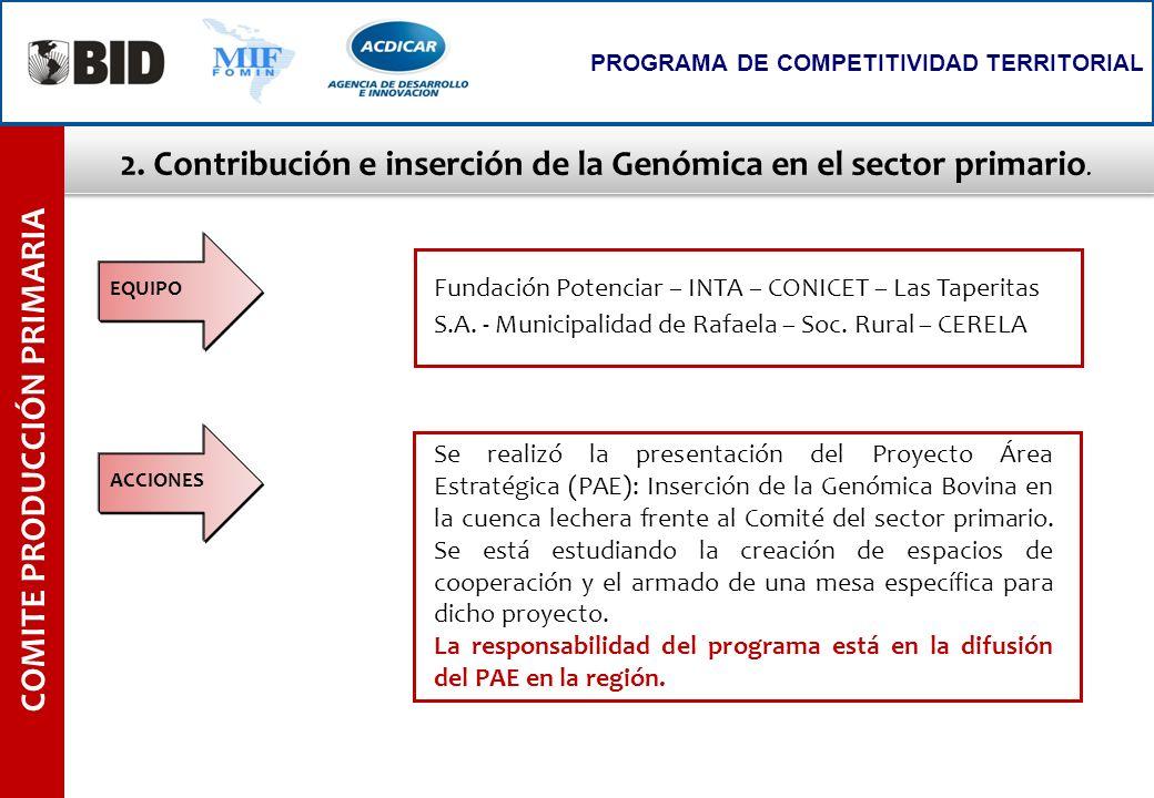 2. Contribución e inserción de la Genómica en el sector primario.