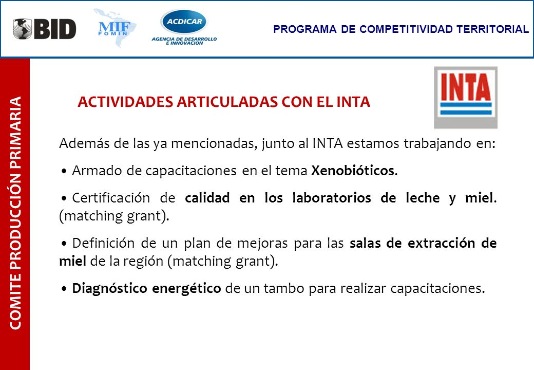 ACTIVIDADES ARTICULADAS CON EL INTA COMITE PRODUCCIÓN PRIMARIA