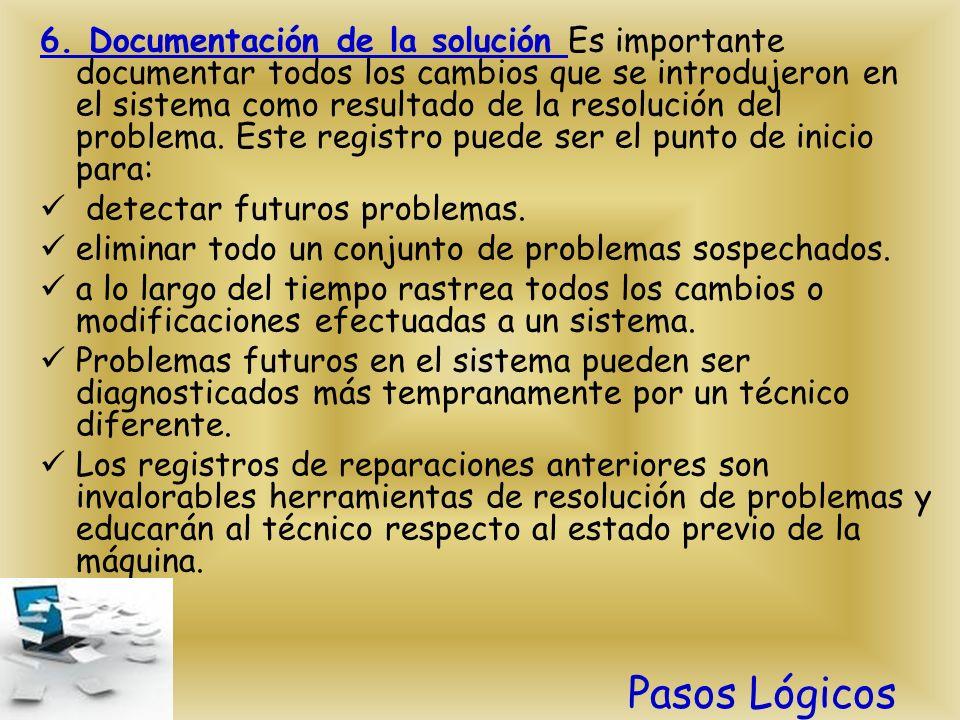 6. Documentación de la solución Es importante documentar todos los cambios que se introdujeron en el sistema como resultado de la resolución del problema. Este registro puede ser el punto de inicio para: