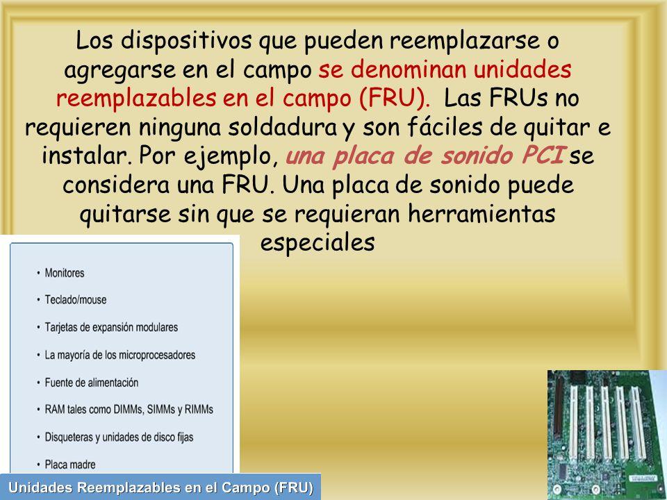 Los dispositivos que pueden reemplazarse o agregarse en el campo se denominan unidades reemplazables en el campo (FRU).