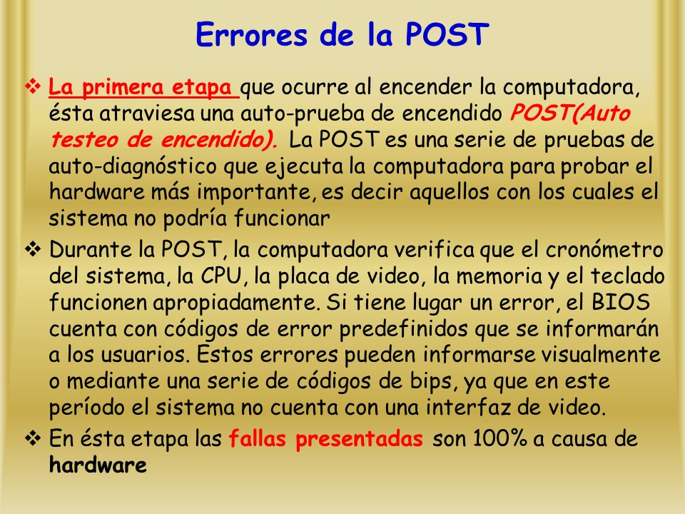 Errores de la POST