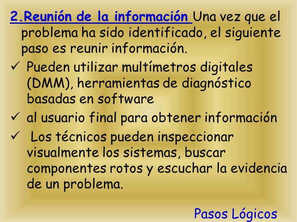2.Reunión de la información Una vez que el problema ha sido identificado, el siguiente paso es reunir información.