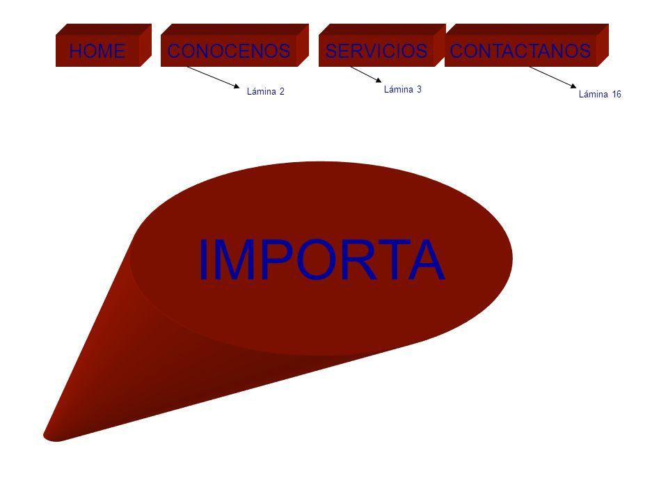 IMPORTA HOME CONOCENOS SERVICIOS CONTACTANOS HOME Lámina 3 Lámina 2